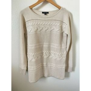 Ann Taylor Sweater Cable Knit Long Sleeve Beige